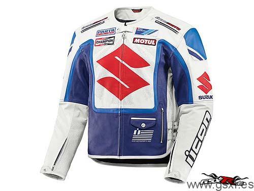 Cazadora moto ICON Victory Suzuki Blanca y Azul