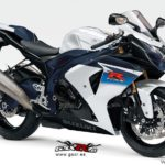 Suzuki GSX-R 1000 2010 Glass splash white/Metallic mat stellar blue (azul y blanca)