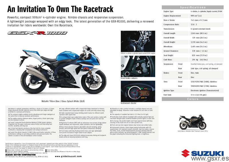Catalogo Suzuki GSX-R 1000 2011