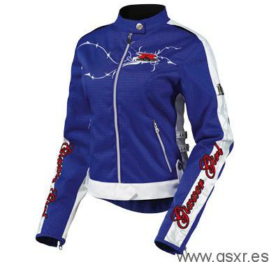 chaqueta moto icon chica hella gixxer girl azul