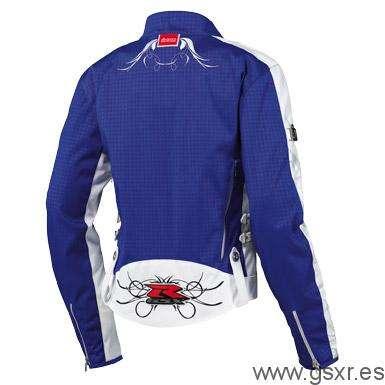 chaqueta moto icon chica hella gixxer girl azul espalda