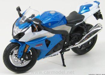 Moto miniatura juguete Suzuki GSXR 1000 2009 azul y blanco