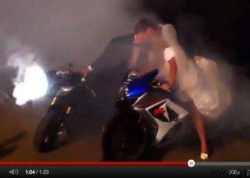 video burnout boda con suzuki gsxr 1000 2008 y yamaha R6