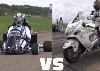 Video Suzuki GSX-R 1300 Hayabusa vs Kart motor Honda CBR1000RR Fireblade